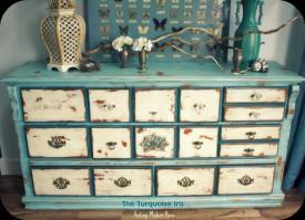 Turquoise Iris Furniture Art Vintage Distressed