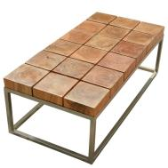 Unique Solid Wood Industrial Iron Base Block Coffee Table