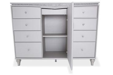 Upholstered Dresser Baxton Studio Enzo White Faux Leather