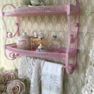 Vintage Pink Metal Bathroom Shelf Shabby Chic Baby Girl