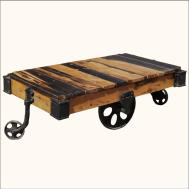 Vintage Rustic Reclaimed Wood Factory Cart Coffee Table