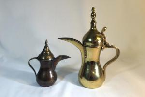 Vintage Set Brass Turkish Coffee Pots Decorative