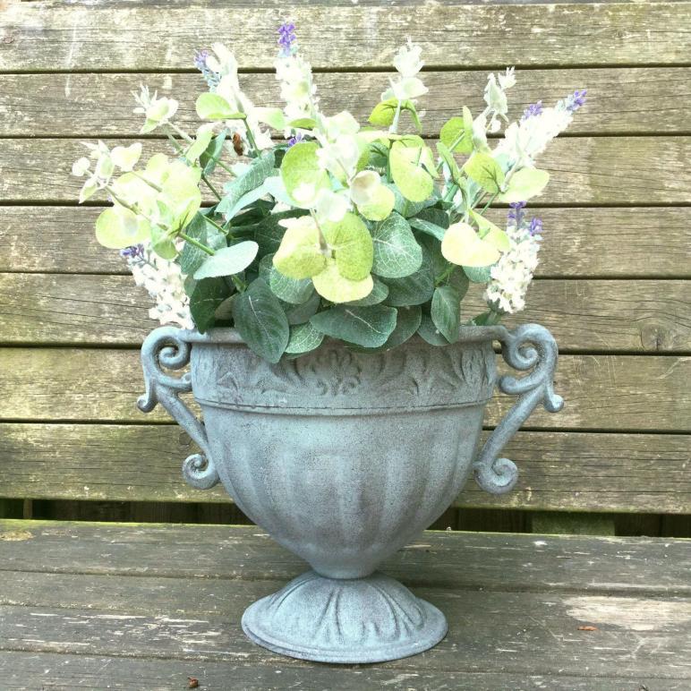 Vintage Style Antique Metal Garden Planter Urn Flower Pot