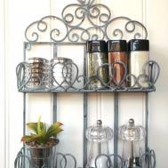 Vintage Style Metal Wall Shelf Unit Storage Kitchen