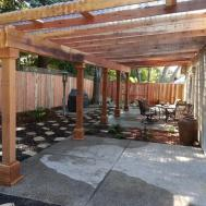 Water Efficient Back Yard Redwood Pergola