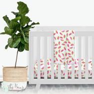 Watercolor Watermelon Modern Baby Girl Crib Bedding