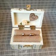 Wedding Ring Box Hand Painted Rustic Primitive Antique White