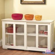 White Kitchen Island Storage Cabinet Wood Top Cupboard