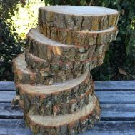 Willow Log 11in Slice Wood Coasters Disk Center