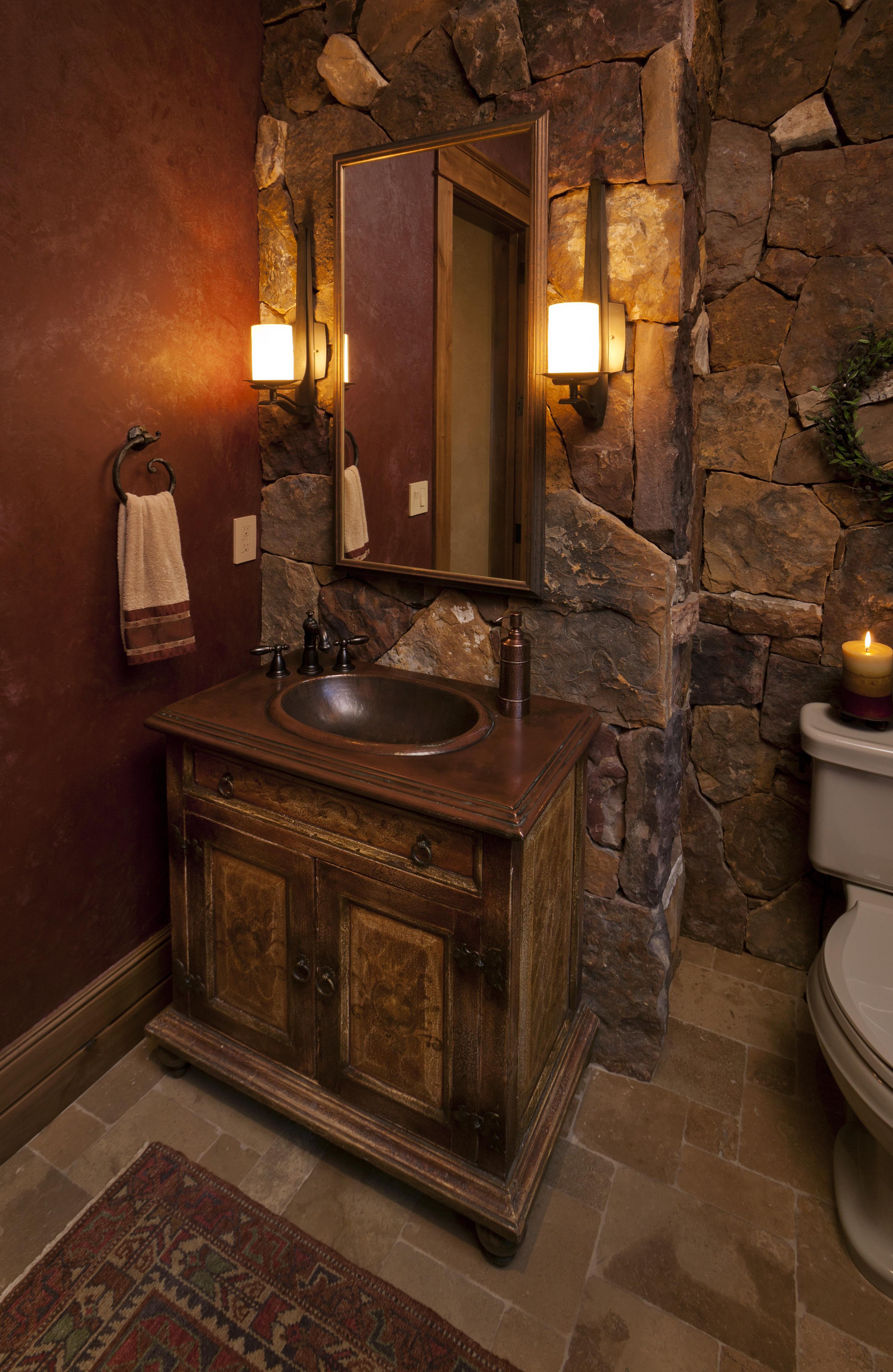 rustic bathroom lighting image of