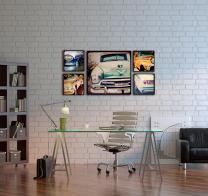 Wood Blocks Vintage Cars Home Decor Wall Art
