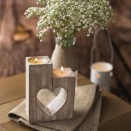 Wooden Candle Holders Rustic Holder Wood Hearts