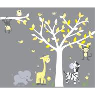 Yellow Gray Jungle Decals Elephant Stickers Kids