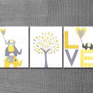 Yellow Grey Nursery Art Print Set Kids Room Decor