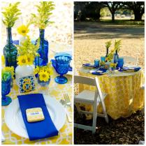 Yellow Royal Blue Wedding Decoration Ideas Reception