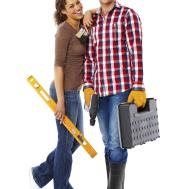 Young Couple Doing Home Repairs Isolated Your Sight