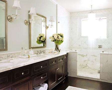 Calcutta Marble Transitional Bathroom House Beautiful