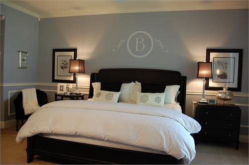 Blue Bedroom With Wainscoting Dark Brown Furniture Crisp White Bedding Paint Wall Color Colors