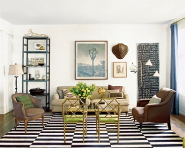 Black and White Striped Rug   Transitional   living room   Nate     Black and White Striped Rug