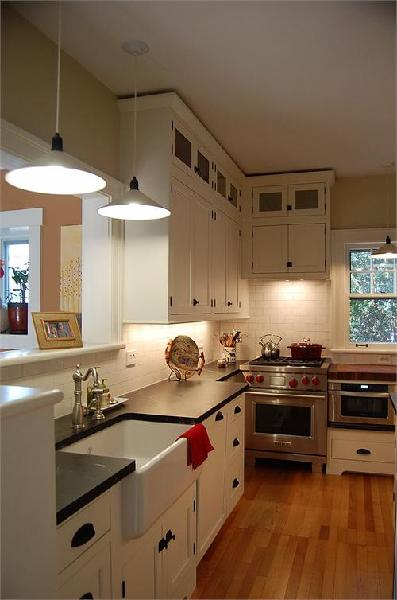 kitchens - soapstone white cabinets Viking stove farmhouse subway tiles  lovely RMS farmhouse kitchen in a 1920's home  white kitchen cabinets,