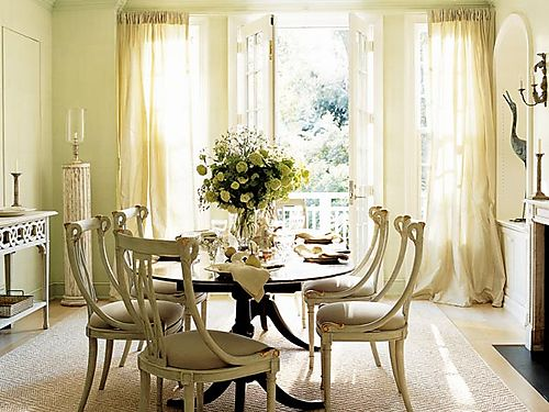 dining rooms - French dining chairs oval dining table ivory cream silk drapes window treatments dining room fireplace French country  Thanks