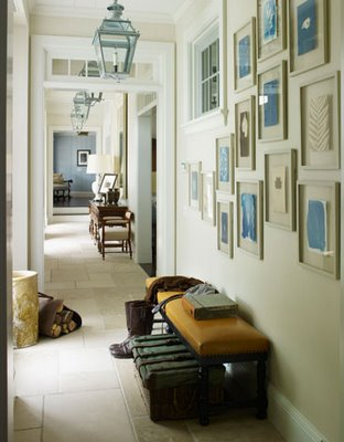 entrances/foyers - blue photo gallery white gallery frames blue glass pendant light orange leather bench  Steven Gambrel and Eric Piasecki Photography!
