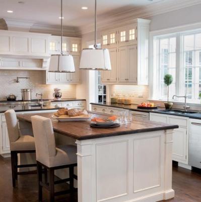 kitchens - Chase pendant silver white pendant lighting chandelier white kitchen cabinets butcher block countertops black granite countertops