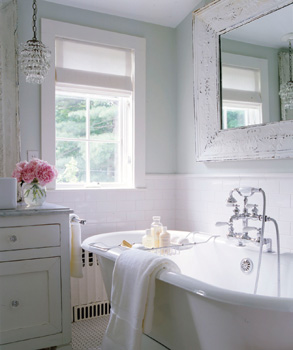 bathrooms - gray blue green claw foot tub glass pendant marble countertop white washed painted shabby chic beveled frame mirror white roman shade shabby chic vintage cottage bathroom blue green  walls paint color bathroom