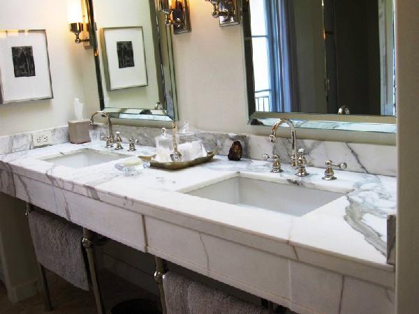 calcutta marble vanity - contemporary - bathroom