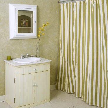 white vertical stripe shower curtain