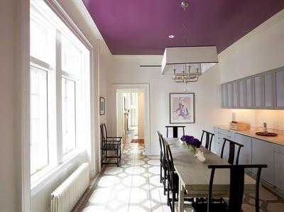 Gina Kates:  pop of purple. graphic floors   silver geometric painted floors, gray cabinets, ...