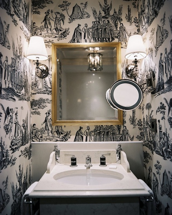 And White Bathroom Toile Black