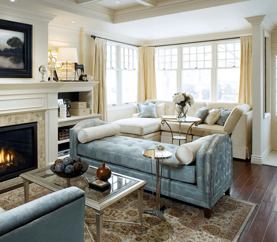 blue tufted chaise transitional