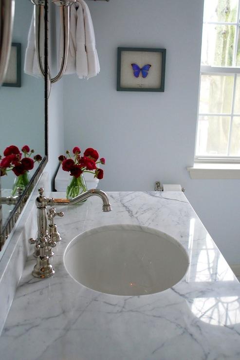 White Carrera Marble Countertop Transitional Bathroom