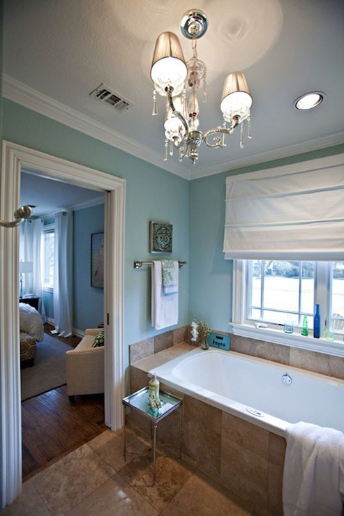 Spa Blue Paint Color Contemporary Bathroom Sherwin Williams Rain Washed Studio Ten 25