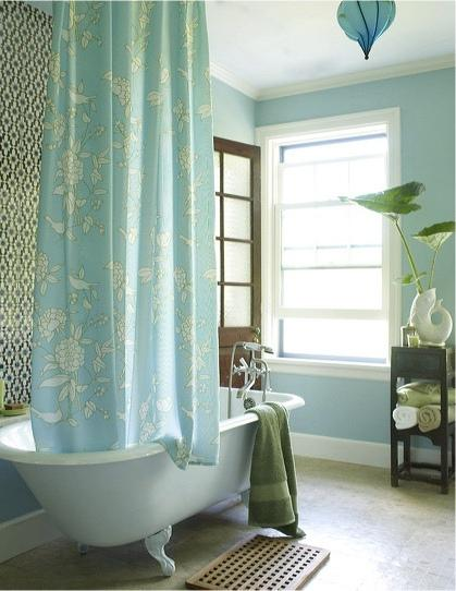 Turquoise Shower Curtain Cottage Bathroom