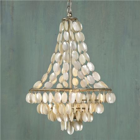Natural Shell Necklace Chandelier 3 Lt Shades Of Light