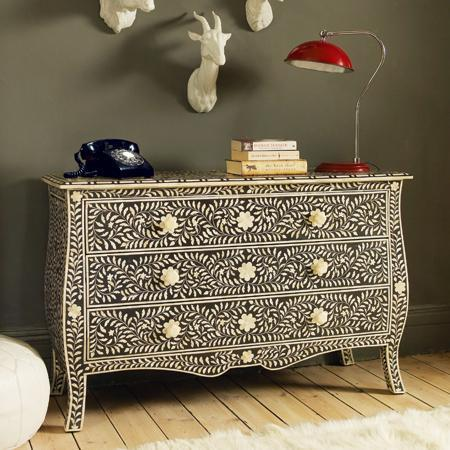 Black Amp Bone Inlay French Style Chest Of Drawers New