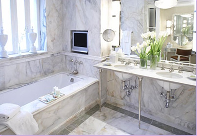 white marble bathroom - transitional - bathroom