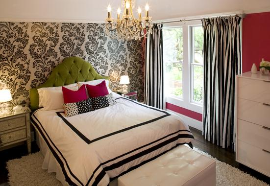 Hot Pink Green Black S Bedroom Design With White Damask Wallpaper Accent Wall Tufted Microfiber Headboard Magenta Pillows