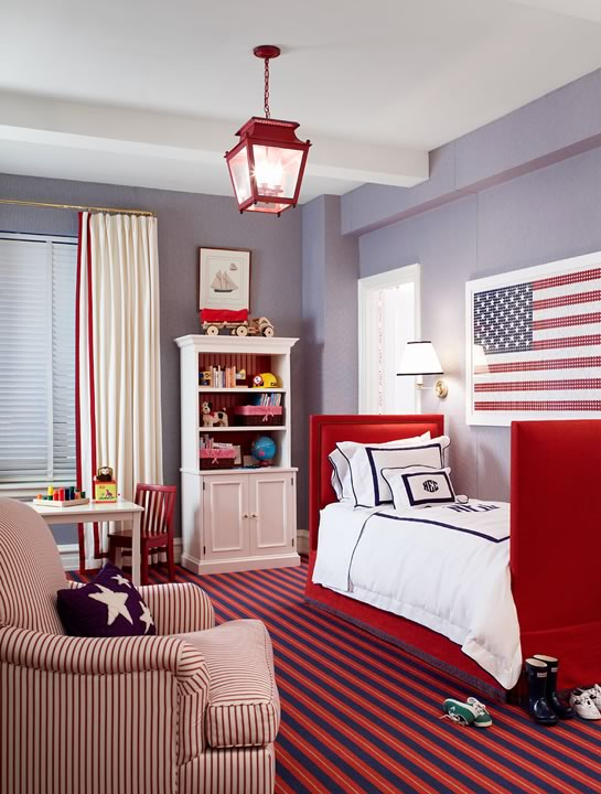 Red White And Blue Boys Room Traditional Boys Room