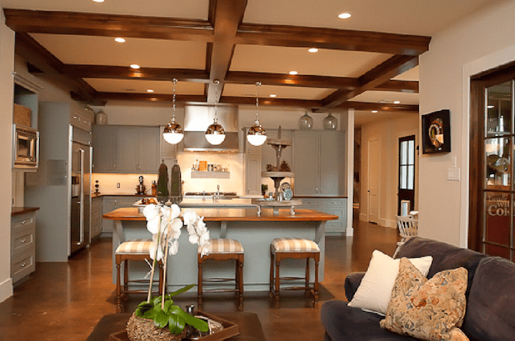 kitchen coffered ceiling transitional kitchen cote de texas