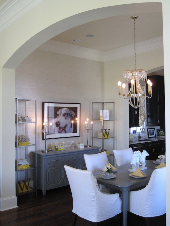 Gray Dining Table Transitional Dining Room Benjamin