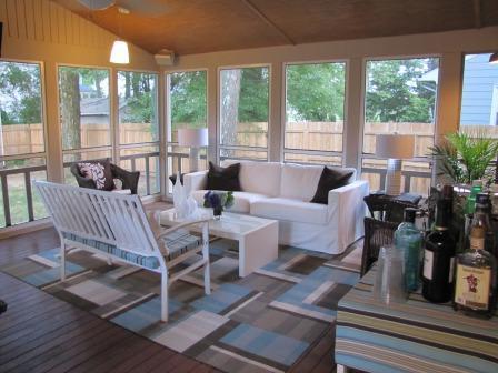 screened porch  blue  gray carpet tile rug