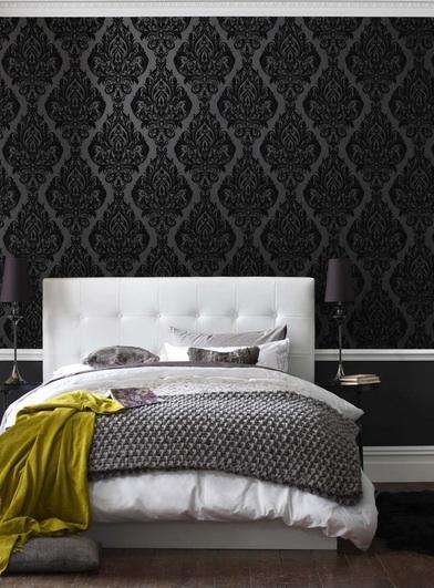 Black Damask Wallpaper Contemporary Bedroom