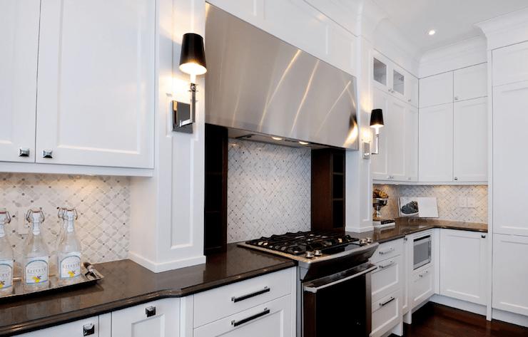 White Marble Backsplash Contemporary Kitchen Atmosphere Interior Design