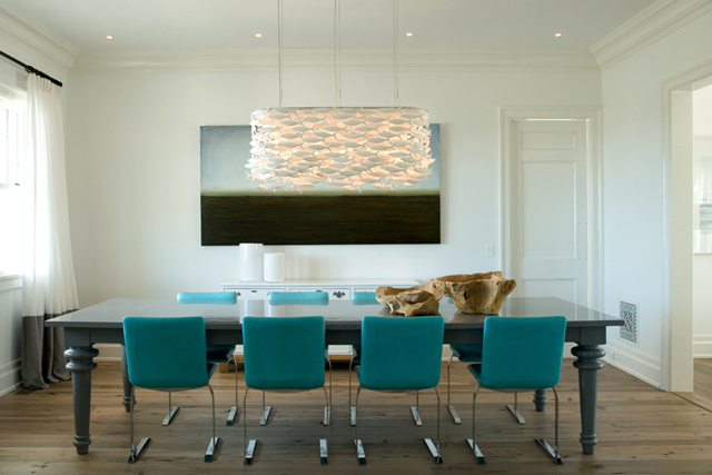 Turquoise Blue Dining Chairs Contemporary Dining Room