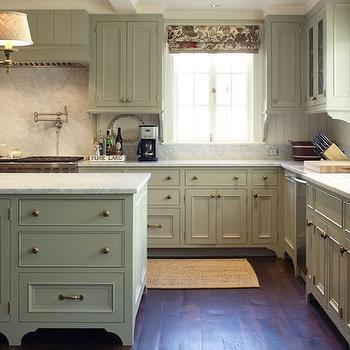 Gray Green Kitchen Cabinets Cottage Kitchen Tammy