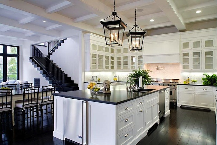 Suzie: Kitchen Crisp White Kitchen Cabinets U0026 White Kitchen Island,  Soapstone Counter Tops,
