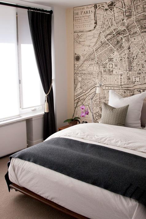 Vintage Map Wallpaper Contemporary Bedroom
